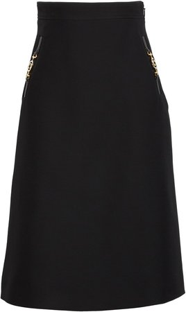 Silk & Wool Cady Crepe A-Line Skirt
