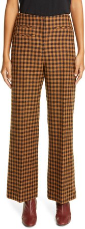 Check Wide Leg Virgin Wool & Cotton Trousers