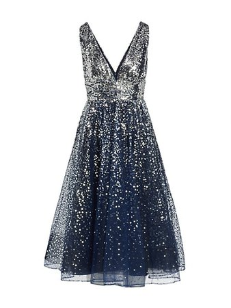 Marchesa Notte Sequined Tulle A-Line Dress