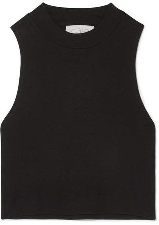 calé - Bridgette Cropped Stretch-modal Jersey Tank - Black