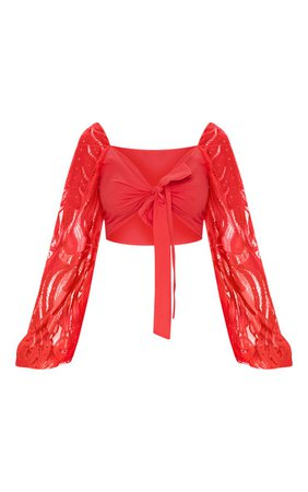 RED LACE SLEEVE TIE FRONT CROP BLOUSE