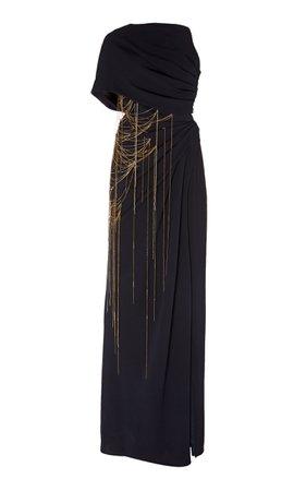 Oscar de la Renta Asymmetrical Chain-Embellished Silk Gown