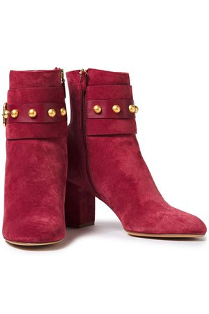 Plum Buckled studded suede ankle boots   Sale up to 70% off   THE OUTNET   RED(V)   THE OUTNET