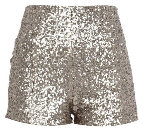 Silver Sequin High Waisted Shorts