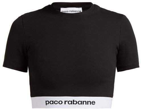 Paco Rabanne Bodyline Logo Jacquard Crop Top - Womens - Black