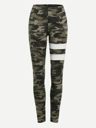 Camo Varsity Striped Leggings