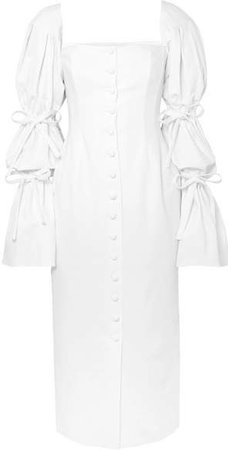 Tie-detailed Poplin Midi Dress - White