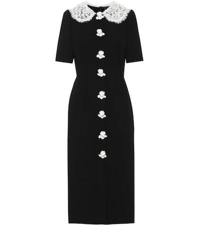 Wool-crêpe midi dress