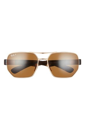 Ray-Ban 60mm Polarized Aviator Sunglasses | Nordstrom