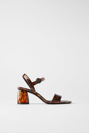 TORTOISESHELL WIDE HEELED SANDALS - View all-SHOES-WOMAN   ZARA United States