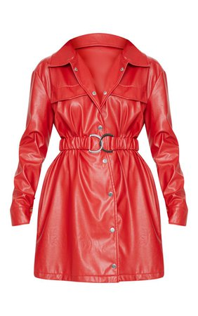 RED FAUX LEATHER BELTED SHIRT DRESS.jpg (740×1180)