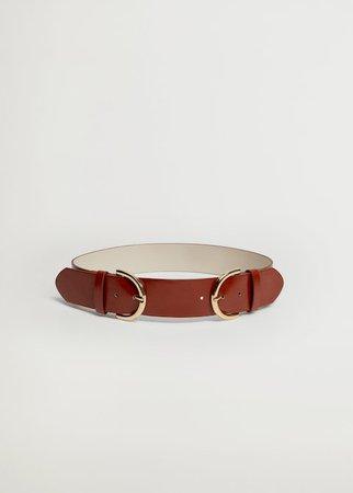 Double buckle belt - Women | Mango USA brown
