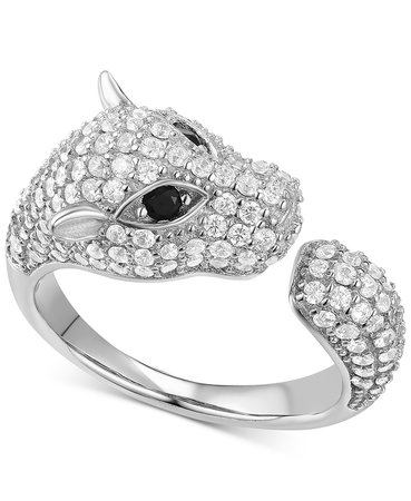 Macy's Cubic Zirconia Pavé Panther Sterling Silver Cuff Ring