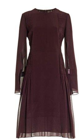Akris Smocked Silk-Georgette Dress