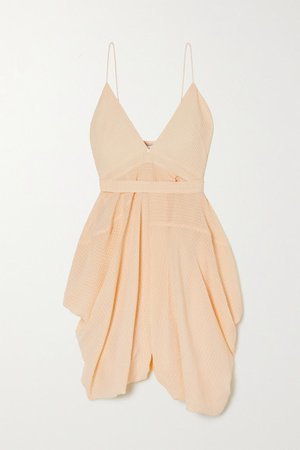 Jenny Asymmetric Draped Silk-seersucker Mini Dress - Yellow