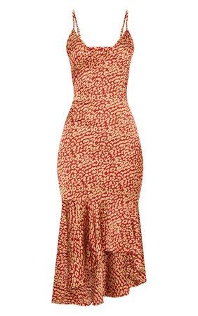 Red Leopard Print Frill Hem Midi Dress   PrettyLittleThing USA