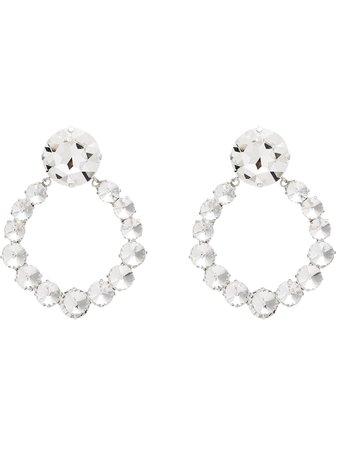 Alessandra Rich Silver Plated Crystal Hoop Earrings - Farfetch