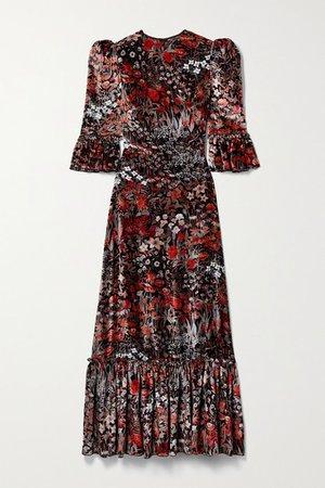 The Festival Ruffled Floral-print Velvet Midi Dress - Black