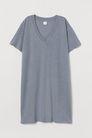 Linen-blend T-shirt Dress - Gray