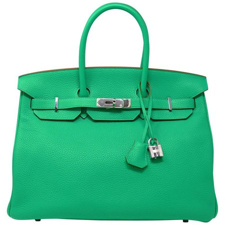 Hermes Birkin Bag 35cm Green Menthe Leather with Palladium Hardware For Sale at 1stdibs