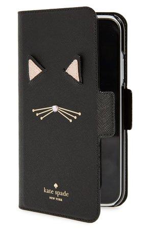 kate spade new york cat iPhone X/Xs/Xs Max & XR folio | Nordstrom