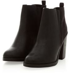 Black Contrast Split Side Chelsea Block Heel Boots (870 RUB) ❤ liked on Polyvore featuring shoes, boots, ankle booties, ankle boots, black, block heel booties, block heel ankle boots, black block heel booties, black block heel boots and block heel bootie