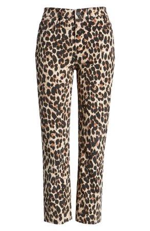 PAIGE Hoxton High Waist Ankle Straight Leg Jeans (Sahara Leopard) | Nordstrom
