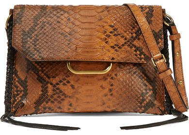Sinky Whipstitched Snake-effect Leather Shoulder Bag - Brown