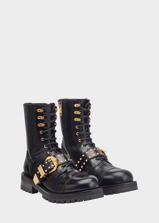 Versace Studded Belt Lace Up Boots for Women | Online Store EU
