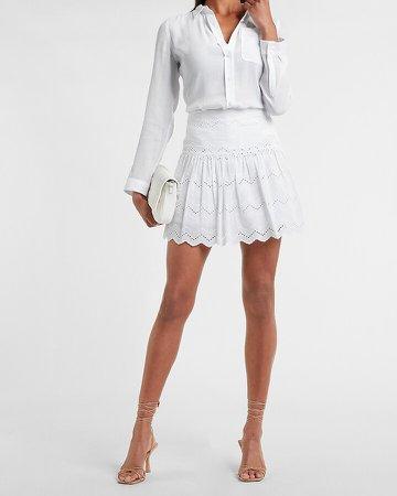 High Waisted Scalloped Eyelet Lace Mini Skirt