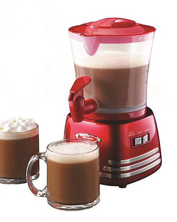 Amazon.com: Nostalgia HCM700RETRORED Retro 32-Ounce Hot Chocolate, Milk Frother, Cappuccino, Latte Maker and Dispenser: Kitchen & Dining