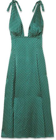 Polka-dot Crepe De Chine Midi Dress - Green