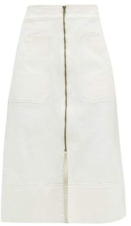 Ssōne Ssone - Zip Through Organic Denim Midi Skirt - Womens - Ivory