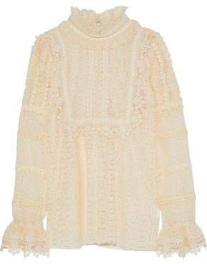 Ruffle-trimmed Crocheted Blouse