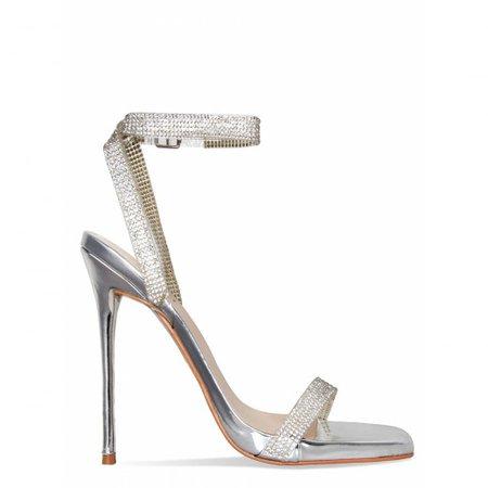 Laurel Silver Clear Diamante Square Toe Heels : Simmi Shoes