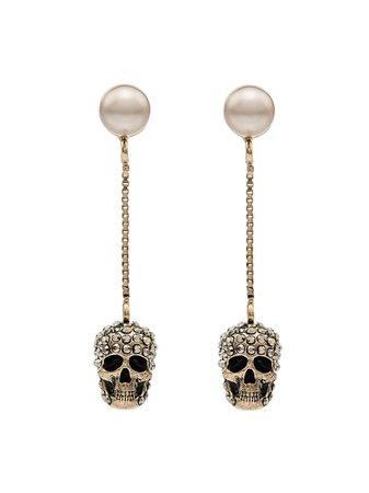 Alexander McQueen Pave Skull Earrings - Farfetch