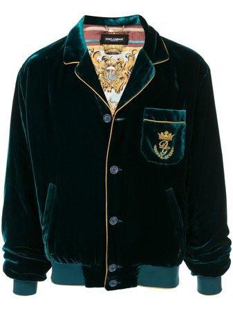 Dolce & Gabbana Velvet Pyjama Bomber Jacket G9PL3ZFUVFV Green | Farfetch