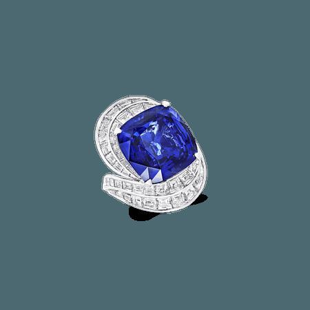 Graff, Sapphire and Diamond Ring 22.84 CT CUSHION CUT SAPPHIRE