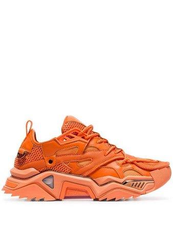 Calvin Klein 205W39nyc orange Strike chunky low-top leather sneakers