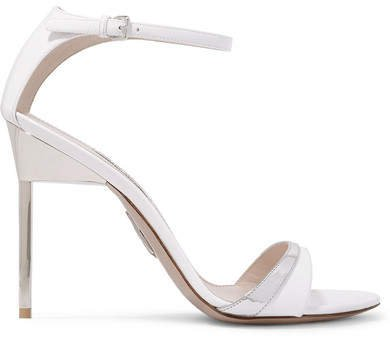 Metallic-trimmed Patent-leather Sandals - White