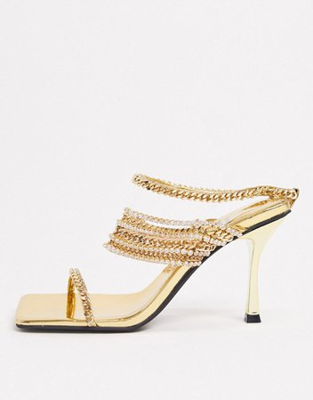 Jeffrey Campbell Theogony chain embellished heeled sandal in gold   ASOS
