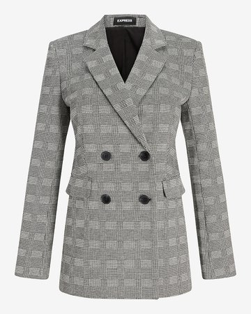 Plaid Double Breasted Blazer | Express