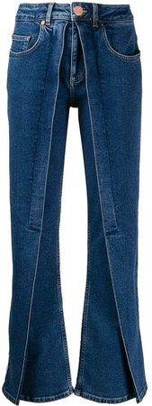 panelled flared jeans