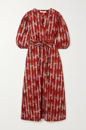 Odile Jacobs - Belted Printed Waxed-cotton Maxi Dress - Pink