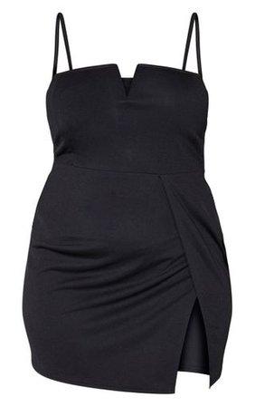 Plus Black Extreme Thigh Split Plunge Bodycon Dress   PrettyLittleThing USA
