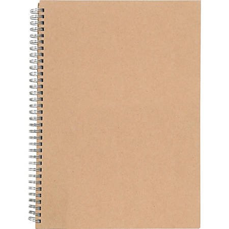 Nature Saver Hardcover Twin Wire Notebooks 80 Sheets Spiral 0.25 Ruled Ruled 22 lb Basis Weight 11 34 x 8 14 Brown Cover Kraft Cover Hard Cover Heavyweight Micro Perforated Recycled 1 Each - Office Depot