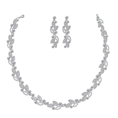 Silver Bridal Jewelry Set, Clear Crystal Wedding Drop Earringsnd Necklace for Bride Bridesmaid: Clothing