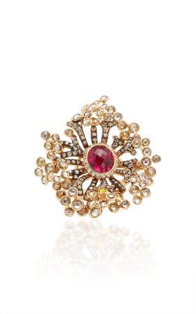 18K Rose Gold, Sapphire, Garnet And Diamond Ring by Wendy Yue | Moda Operandi