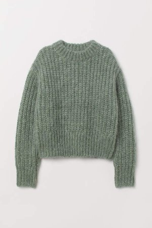 Chunky-knit Wool Sweater - Green