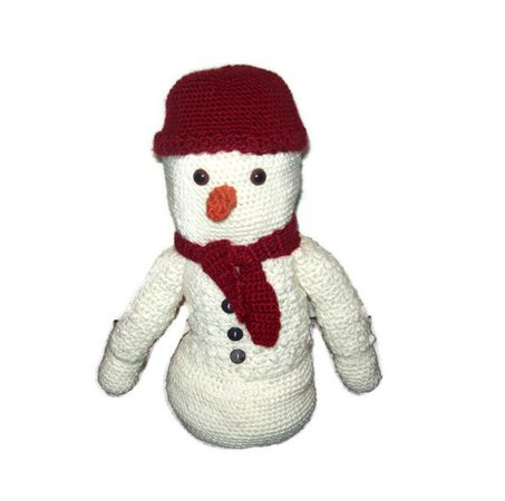 Stuffed Crochet Snowman Red Hat And Scarf Included 14 Inches | Etsy